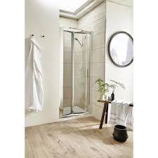 pacific 1100mm bi fold shower door chrome frame shower