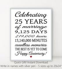 25 year anniversary gift 25 year anniversary gift 25th anniversary print personalized