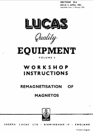 lucas electrical motorcycle workshop instructions 1952 1961