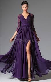 purple lace bridesmaid dress purple v neck chiffon and lace bridesmaid dress with split