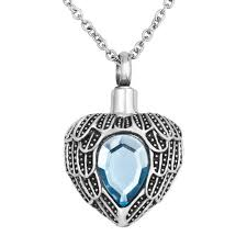 cremation jewlery heart with angel wings charm urn pendant necklace stainless steel