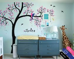 Tree Nursery Wall Decal Tree Wall Decal Personalized Nursery Mural Stickers Parrots
