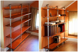 pole mounted industrial book shelf for attic room with sloping