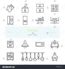 stylish kitchenware home stuff outline icon set 15 stock vector 372537961 shutterstock
