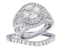 real diamond rings images Bridal 14k white gold cluster diamond wedding engagement 2pc ring jpg