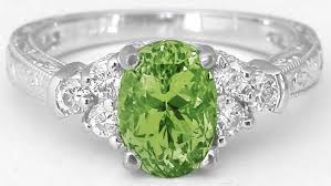 peridot engagement ring oval peridot and ring in 14k white gold with