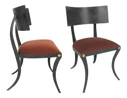 lovely set of six steel klismos chairs by ched berenguer topacio