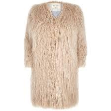 river island cream shaggy faux fur winter coat in brown lyst