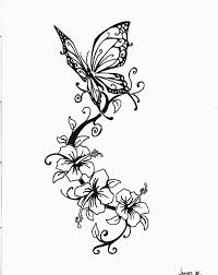 lily flowers and butterfly tattoo design