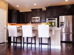 Kitchens With Wood Cabinets Modern Kitchen With Dark Wood Cabinets And Hardwood Floors Stock