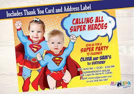 super babies birthday invitation my hero at home