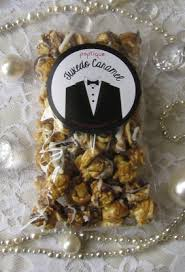 popcorn favors tuxedo caramel flavored popcorn wedding favors