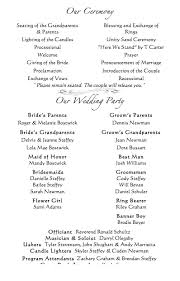 wedding program order order of wedding party in program wedding gallery