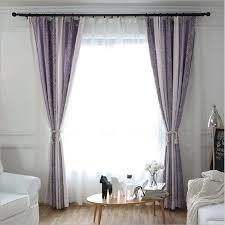 Thick Purple Curtains Window Curtains Modern Purple Blue Jacquard Thick Faux Linen