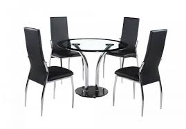 Circular Glass Dining Table And 4 Chairs Round Glass Table And Chairs Modern Chairs Design