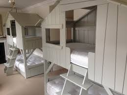Grey Solid Pine Treehouse Bunk Bed Scandinavian Kids Dorset - Treehouse bunk beds
