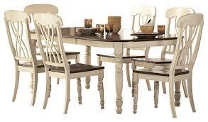 Homelegance Ohana Rectangular Leg Dining Table In White And Cherry - Ohana white round dining room set