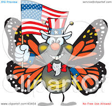 clipart illustration of a patriotic uncle sam monarch butterfly