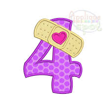 bandaid fourth 4th birthday doc mcstuffins number 4 sizes