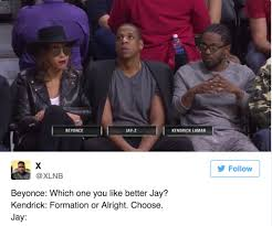 Beyonce And Jay Z Meme - beyonce jay z s courtside seating next to kendrick lamar was a