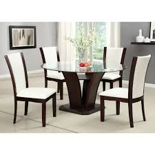 Glass Top Dining Table And Chairs Furniture Of America Jensen 5 Piece Glass Top Dining Set Hayneedle