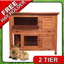 4ft Rabbit Hutch With Run Rabbit Wooden 2 Tiers Hutches Ebay