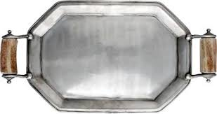 pewter serving platter antler serving tray antler gift pewter tray made in the usa anteks