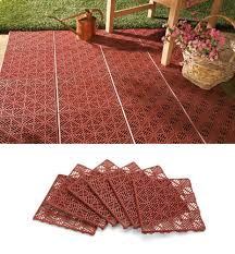 Patio Tile Flooring by Amazon Com Collections Etc 6pc Interlocking Outdoor Patio