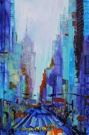 new york lights painting 36x24x4 cm 2017 by irina rumyantseva abstract art