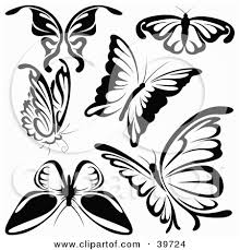 clipart illustration of six black and white butterflies by dero