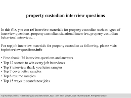 property custodian interview questions