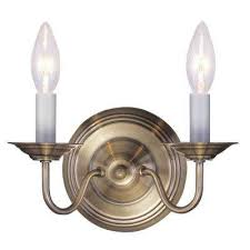 Antique Brass Wall Sconce Brass Sconces Lighting The Home Depot