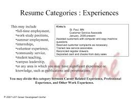 Resume Category Examples by Resume Webinar
