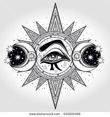 handdrawn allseeing eye on circle two stock vector 632855369