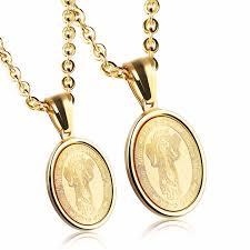 round necklace images 1 piece gold color divino nino child jesus medal round pendant jpg