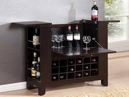 furniture portable wheeled bar cart cabinet with side wine rack