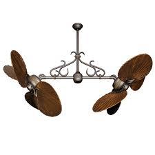 twin star ii dual motor ceiling fan with solid wood carved walnut