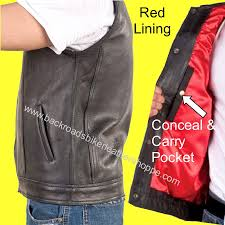 mens leather motorcycle vest leather soa style vest with weapon pocket and single panel back