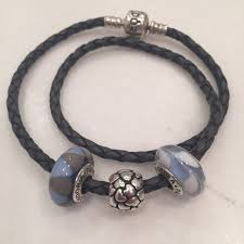 leather bracelet with silver charms images Pandora jewelry grey double leather bracelet with 3 charms jpg