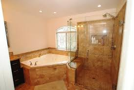 Bathrooms With Corner Showers Corner Tub Shower Seat Master Bathroom Reconfiguration Yorba