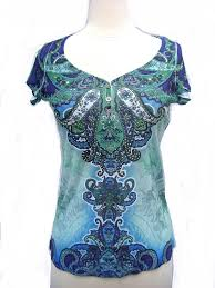 apt 9 clothing apt 9 baroque teal pattern embellished studd t fitted shirt nwt