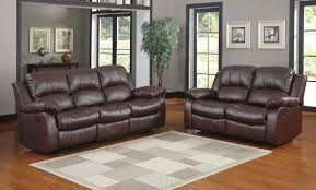 homelegance cranley reclining sofa set brown bonded leather
