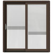 Wooden Sliding Patio Doors Shop Jeld Wen W 2500 71 25 In X 79 5 In Blinds Between The Glass