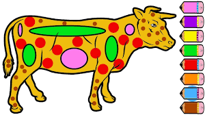cow coloring pages for kids drawing cow learn colours youtube