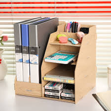 Desk Organizer Shelf Multifunction Office Paper Tray Made Wood Document Tray Desk