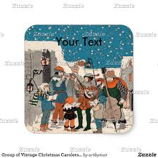 group of vintage christmas carolers musicians snow square sticker