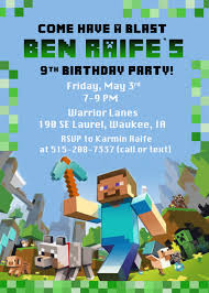 Minecraft Invitation Cards Birthday Invites Exciting Minecraft Birthday Party Invitations