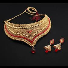 necklace red stone images Shop shreeji creation red stone choker gold plated necklace set jpg