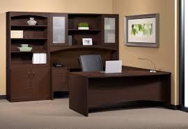 mayline brighton series u shaped desk with hutch and storage cabinet