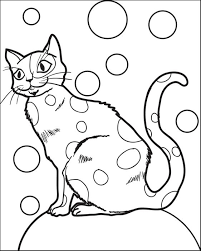 cat sitting seat bubbles coloring kids